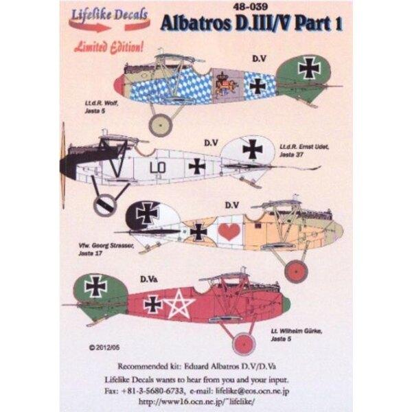 Décal Albatross D.III/V Pt 1 (4) Jasta 5 Lt D.Wolf Blue/White check fuselage avec green tail; Lt R.Ernst Udet Silve Gey fuselage