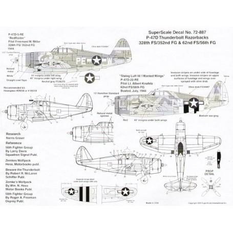 Décal Republic P-47D Thunderbolt Razorbacks (2) 42-851 PE-W 328 FS/352 FG F.W.Miller `Red Raider'; 42-286298 LM-A 62 FS/56 FG Lt