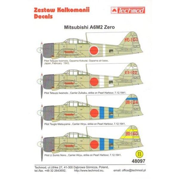 Mitsubishi A6M2 'Zero' (4) t-101 Pilot Tetsuzo Iwamoto Oppama Air Base 1943; EII-102 Carrier Zuikaku; BII-124 Carrier Hiryu ; BI