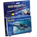 F14D Super Tomcat Model Set - coffret contenant la maquette, les peintures, pinceau et colle