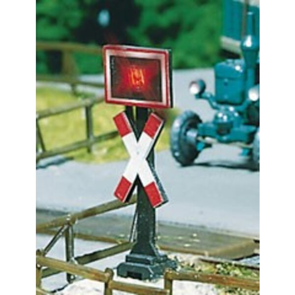 2 Andrews crosses with warning lights