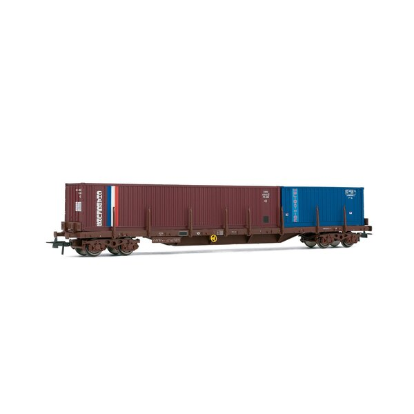 Flat car loaded with two containers