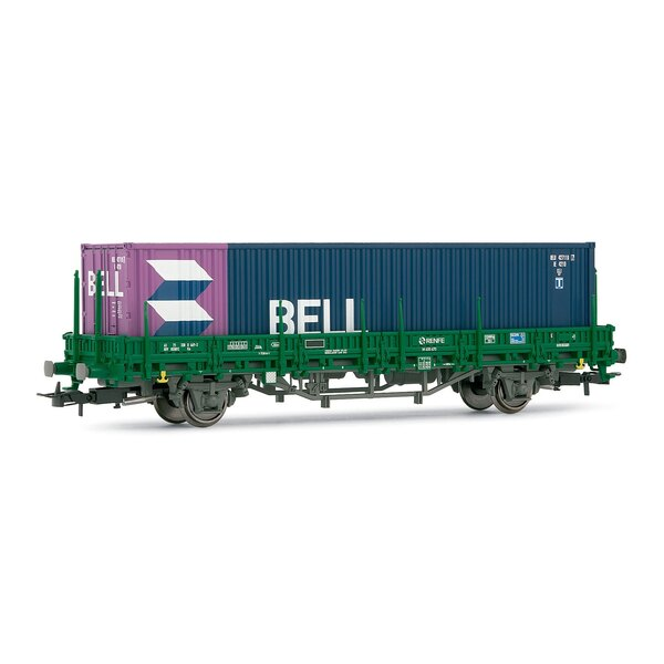 Railcar on low RENFE, ks type with container