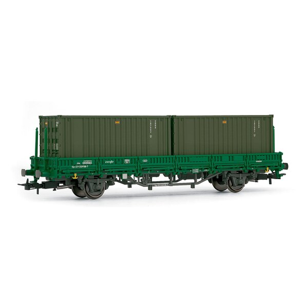 Low side car, ks type, with 2 containers RENFE