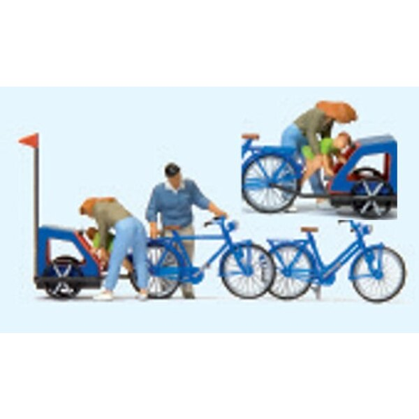Family preparing for cycling