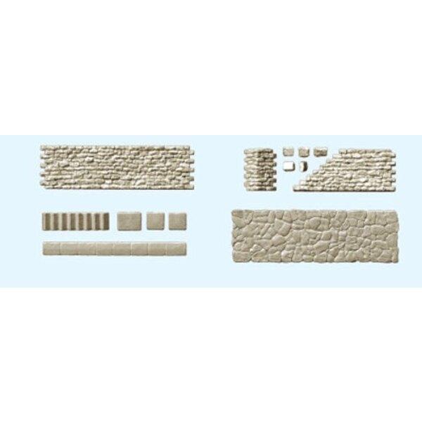 conjuntos de paredes, pavimentos, escaleras de piedra