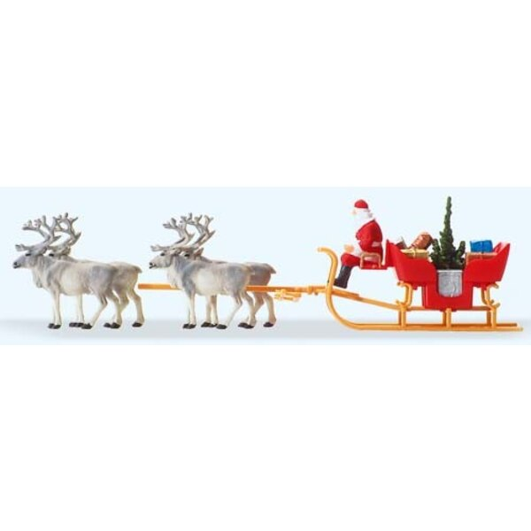 Santa sleigh with four reindeer