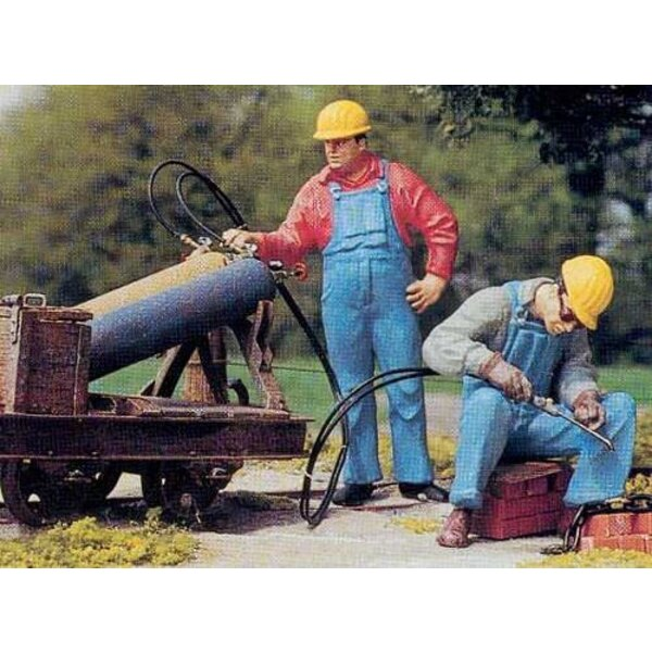 Workers with protective helmet