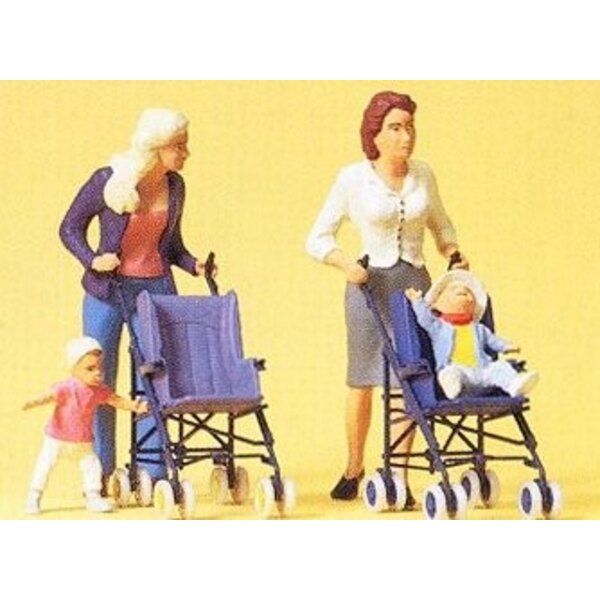 Mother, children and strollers