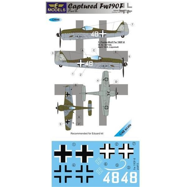 Décal Captured Fw 190F Part II (designed to be used with Eduard kits)