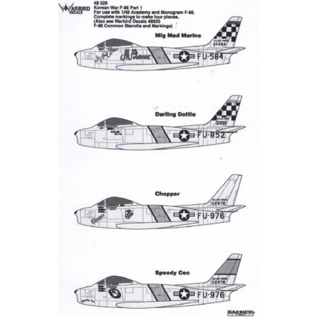 Décal Korean War F-86 Part 1 (designed to be used with Academy and Monogram F-86) (Also see WB48025) Mig mad marine,Darling D