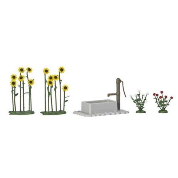 Band of sunflowers, roses + fountain