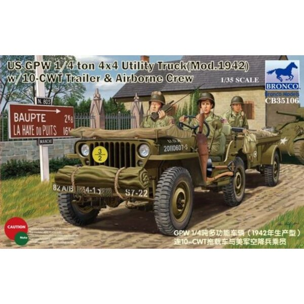 US GPW 1/4ton 4x4 Utility Truck (Mod.1942) with 10-cwt Trailer & Airborne Crew