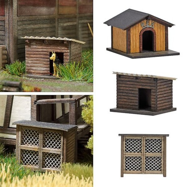 Rabbit hutch and two dogs to iches