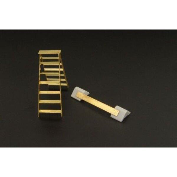 WWII British wheel chocks and step ladder accessories