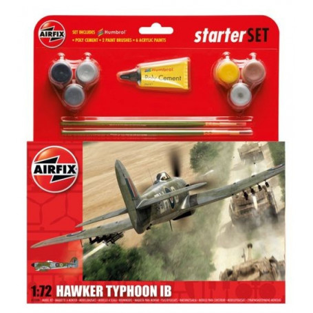 Hawker Typhoon Starter Set includes Acrylic paints, brushes and poly cement