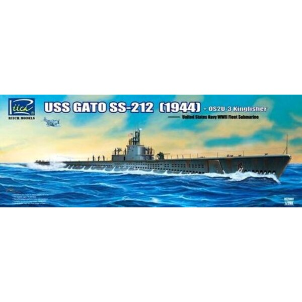 USS Gato Class SS-212 Fleet Submarine 1942 plus Vought OS2U-3 Kingfisher Floatplane