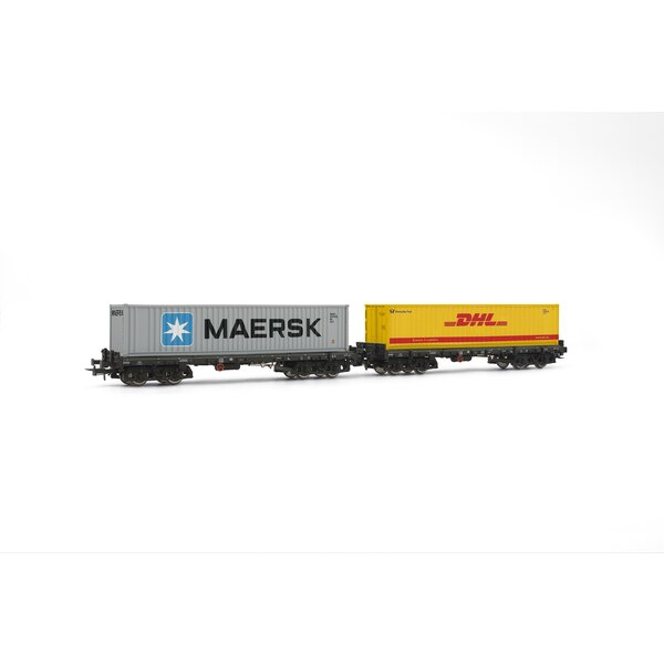 Box 2 container wagons sgmmns 738 (Maersk dhl +), DB