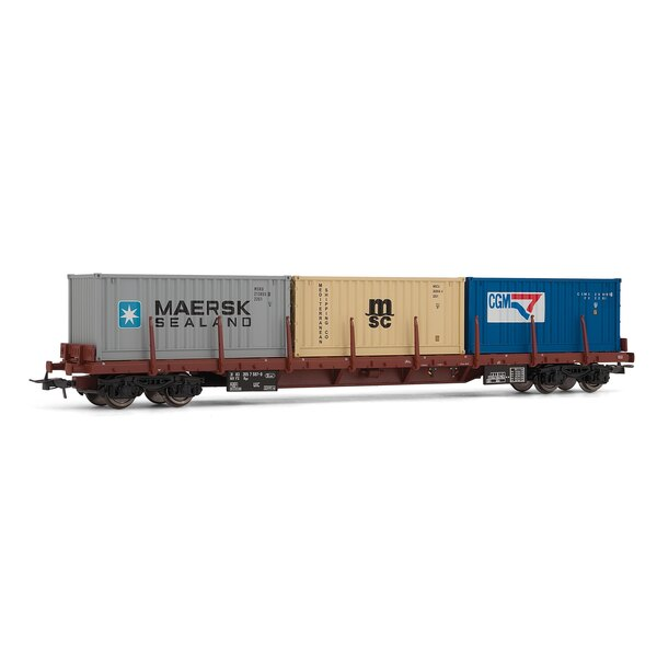 Flat car f.s. such rows loaded with 3 containers