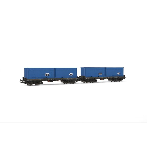 Box 2 flat wagons loaded with container sgmmns738 tfg, DB