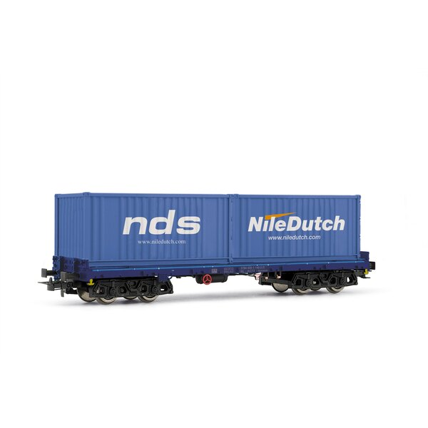 Flatcar sgmmns 738, loaded with containers 2X20P nds / nile dutch atcs