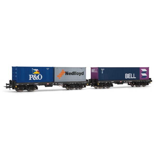 Set of 2 flat cars loaded with containers sgmmns