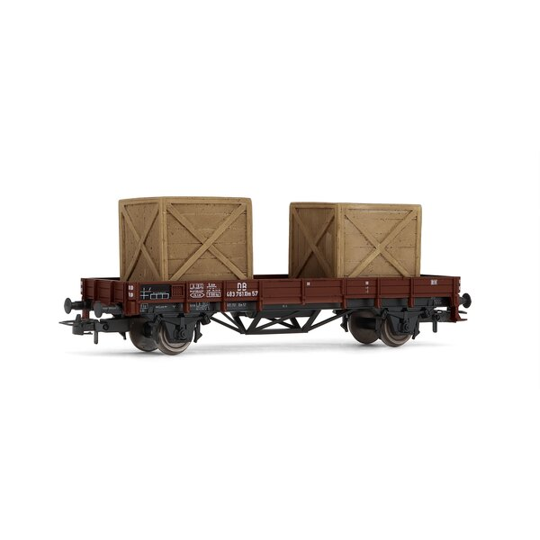 Flat Car with 2 x type wooden crates, then III, DB
