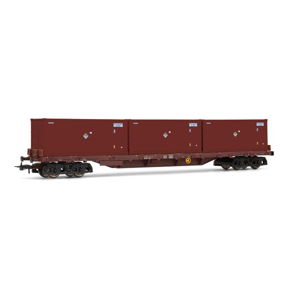 Rs flat car loaded with 3 containers for radioactive waste, DB