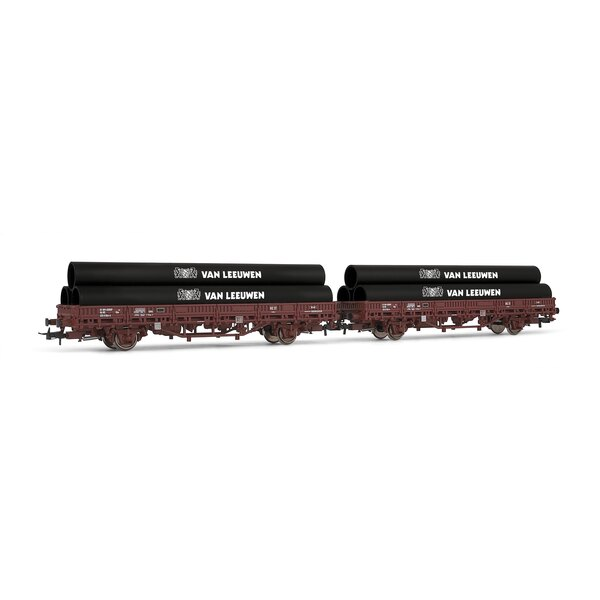 Set of 2 flat cars loaded with pipe kbs