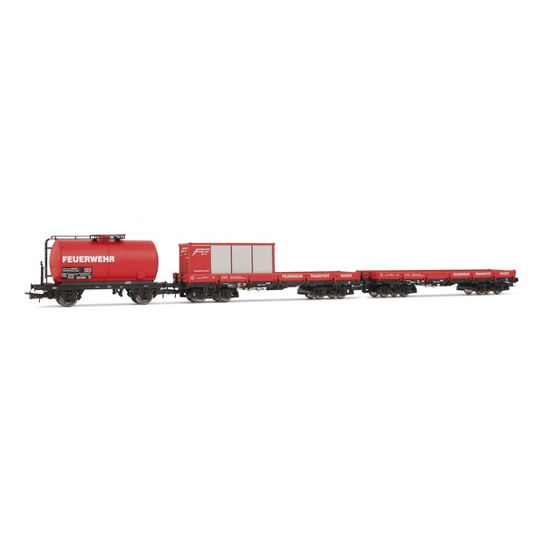 X 3 box cars: tank car and two flatcars with 1 container feuerwehr