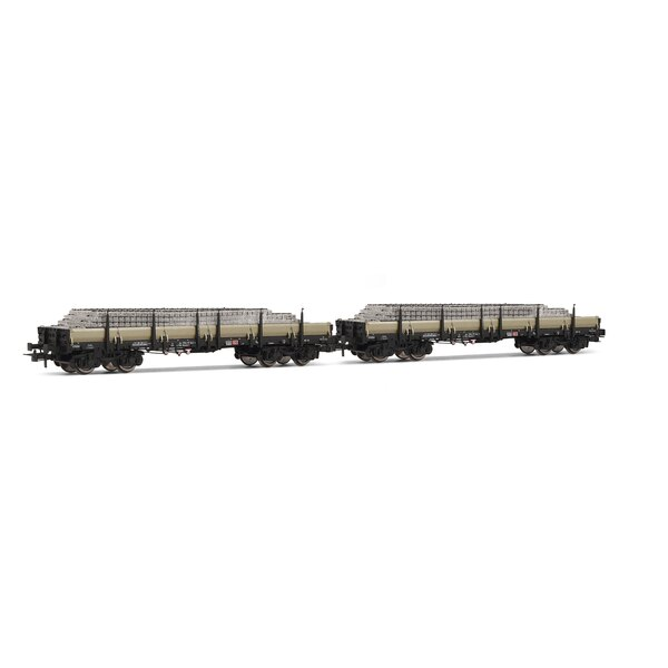 Box 2 x flat cars loaded with concrete sleepers DB
