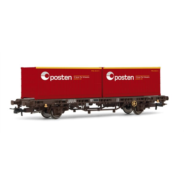 Wagon low NSB board with 2 containers posten