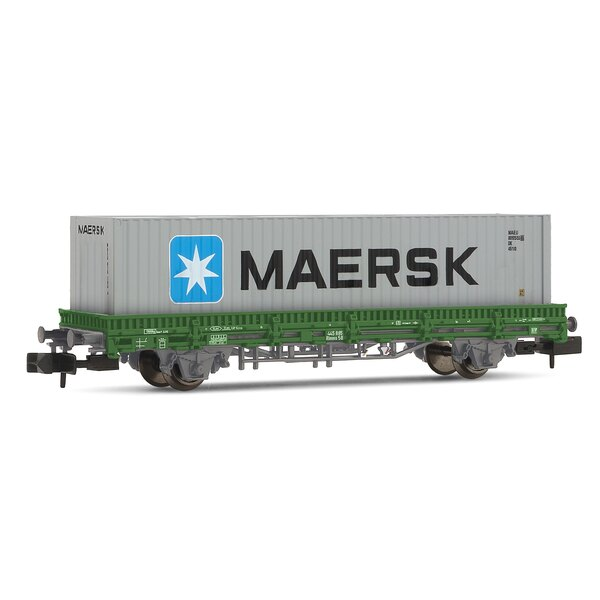 Flat wagon Type Rlmms with Maersk container, RENFE