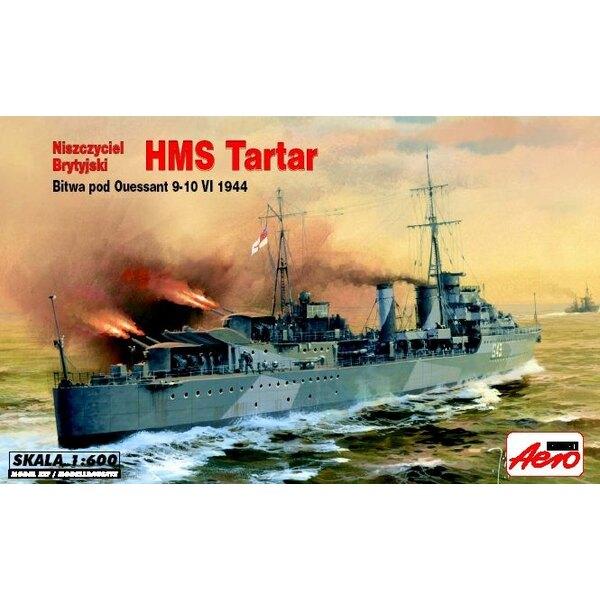 HMS Tartar, destroyer de classe Tribal. Inclut le socle de présentation.