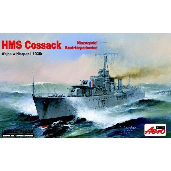 HMS Cossack Destroyer de classe Tribal. socle de présentation inclus