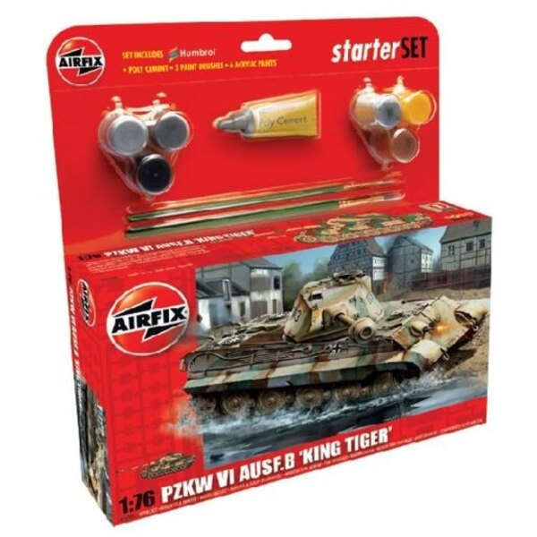 King Tiger Starter Set includes Acrylic paints brushes and poly cement