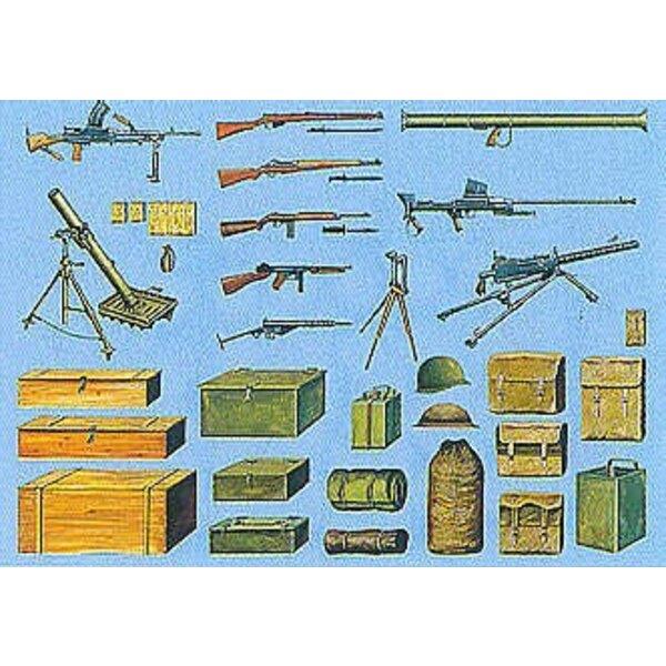 Fusils, Pistolets, Mortiers packs de casques, boites alliées 2ème GM - pack 1