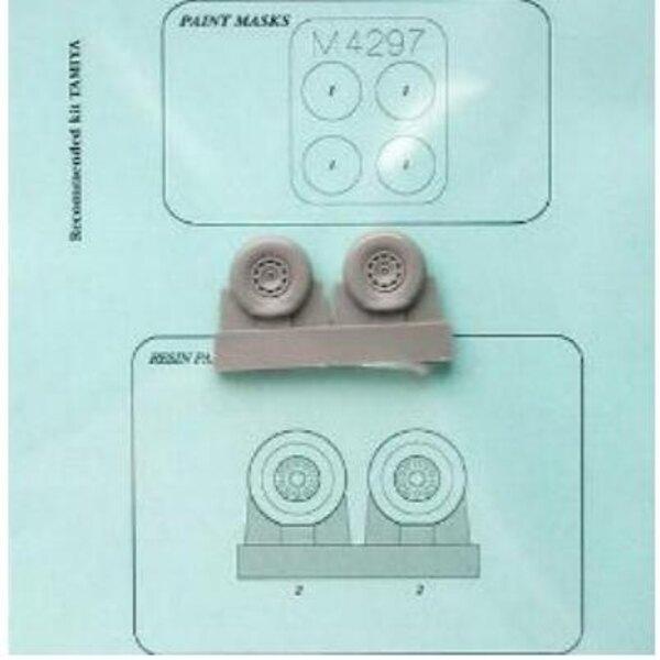 Dewoitine D.520 : roues et pochoir (pour maquettes Tamiya)