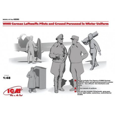 WWII German Luftwaffe Pilots and Ground Personnel in Winter Uniform (5 figures) 1/48 - ICM M48086