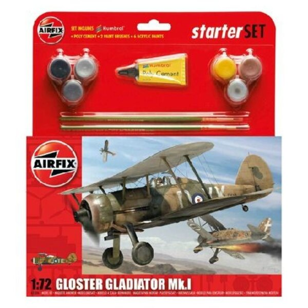 Gloster Gladiator Starter Set includes Acrylic paints brushes and poly cement 1/72 - Airfix 55206
