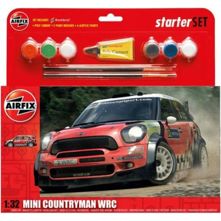 Mini Countryman WRC Starter Set includes Acrylic paints brushes and poly cement 1/32 - Airfix 55304