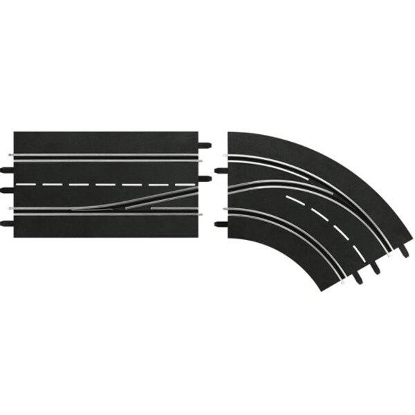 Cambio de carril recto Interior curva -> Exterior y 132