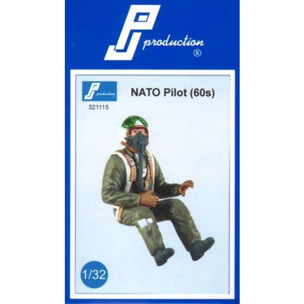 NATO pilot of the 60s . Multipose figure of pilot in fight wearing the helmet typical of the 60s with the outer shield .