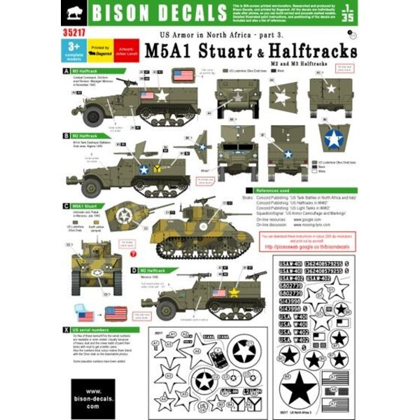 U.S. Tanks in North Africa and # 3 halftracks M5A1 Stuart, 1942-1943
