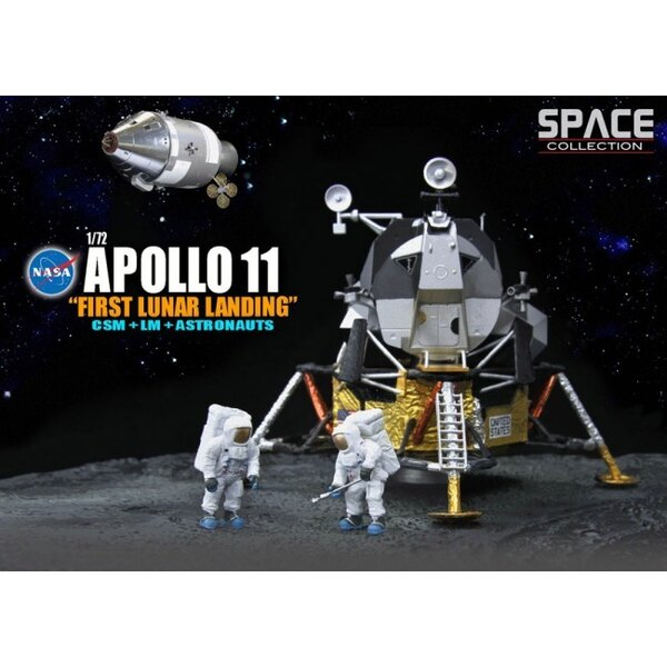 First Apollo 11 Lunar Landing CSM + LM + Astronauts