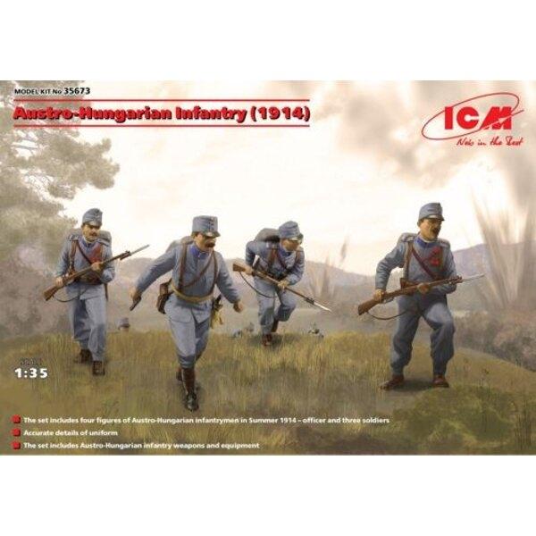 Austrohúngaro Infantería ( 1914) ( 4 figuras) Totalmente nuevo kit de molde. El modelo de kit incluye 4 figuras, armas y ametral