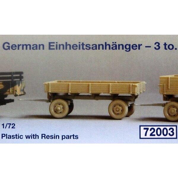 Alemán 3000 remolque estándar Einheitsanhanger - 3 tonnen . En plástico con 4 piezas de resina