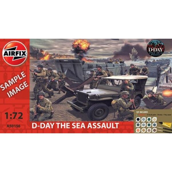 D-Day Assault Sea Gift Set (gift or starter set with paints, paint brush and poly cement)