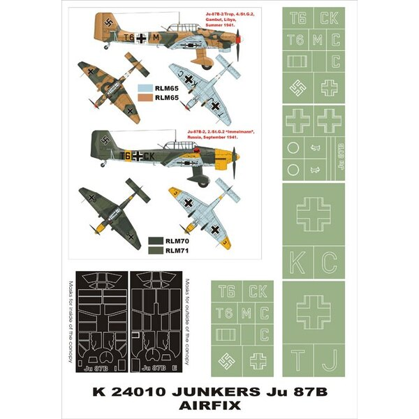 Junkers Ju 87B 2 canopy mask (exterior and interior) + 5 insignia masks (designed to be used with AIrfix kits)