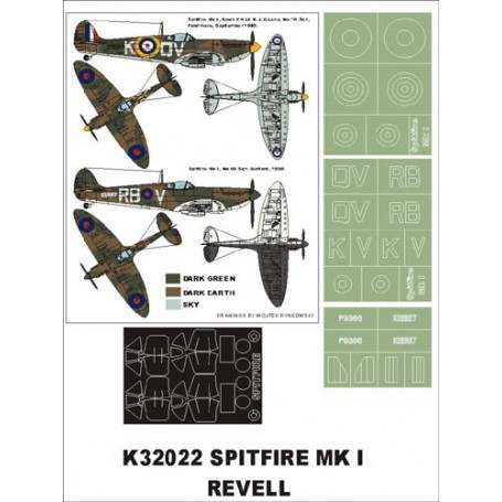 Supermarine Spitfire Mk.I 2 canopy mask (exterior and interior) + 3 insignia masks (designed to be used with Revell/Hasegawa kit